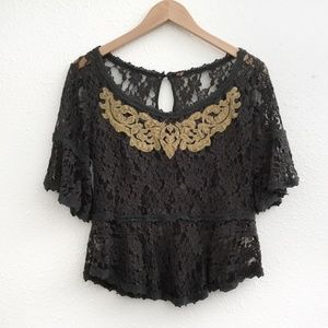 Free People | Grey and Yellow Lace Top